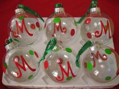 Personalized Christmas Ornaments - DIY Lettering Kits. $2.00, via Etsy.
