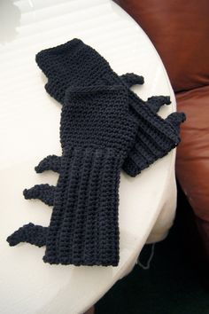 Crocheted Batman Ninja Fingerless Mittens / Gloves / Gauntlets. $46.00, via Etsy.