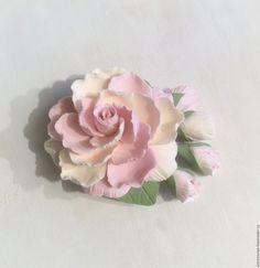 Купить Брошь пион из полимерной глины. - бледно-розовый, айвори, розовый, пион из полимерной глины