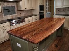 Delicieux Tuscan Kitchen Design With Walnut Island Butcher Block Countertop, Blue  Diamond Pattern Tile Backsplash, And Medium Sea Green Kitchen Island Table  Base, ...