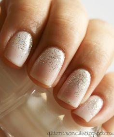 Glitter and Nails: Essie Waltz Kiko 271 + gold glitter gradient Wedding Nail Insipiration from Glitter and Nails Blog Spot. Keywords: #weddingnails #jevelweddingplanning Follow Us: www.jevelweddingplanning.com www.facebook.com/jevelweddingplanning/