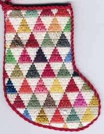 pyramids needlepoint mini-sock. This free pattern is by Janet M. Perry & is available at: http://www.nuts-about-needlepoint.com/scrap-bag-needlepoint-pyramids-mini-sock/
