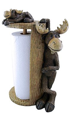 "Perfect for your camp kitchen - this paper towel holder features a moose standing to hold the roll with a smaller moose on top. Fits a standard roll of paper towels. 9.5"" x 15.5"" x 7""."