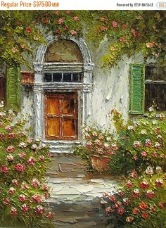 20% off Original Oil MADE to ORDER Painting Knife Texture Flowers Sunny Village Door Colorful Haqndmade Office Home decor rose bush ART by M
