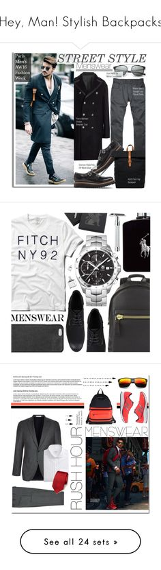 """Hey, Man! Stylish Backpacks"" by polyvore-editorial ❤ liked on Polyvore featuring menswear, backpacks, AMI, Dior Homme, Pierre Balmain, Grenson, ASOS, men's fashion, StreetStyle and fashionWeek"