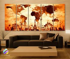 """XLARGE 30""""x 70"""" 5 Panels Art Canvas Print Original Wonders of the world Map Old Vintage drawing Wall decor Home interior (framed 1.5"""" depth)"""