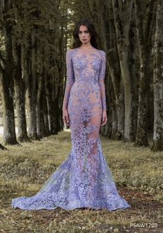 PSAW1708 - Hand-appliqued lavender fishtail gown