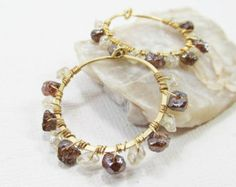 14k Gold Filled Gemstone Hoop Earrings with Mystic Garnet and Topaz Nuggets