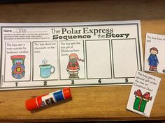 Polar Express sequence the story worksheet activity. Students cut and glue parts of the story in order.