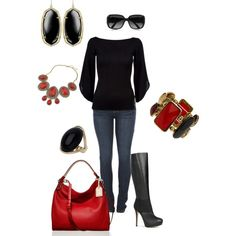 Black and red, created by kaybraden on Polyvore