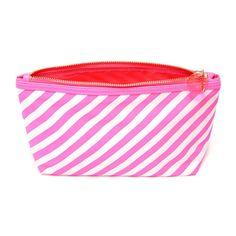 looking good makeup bag - ticket stripe in neon pink