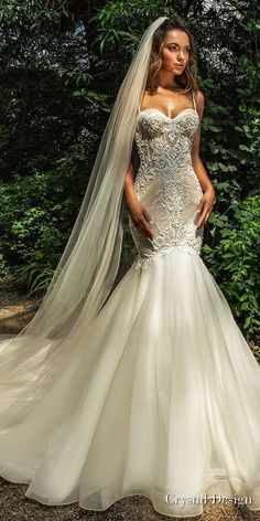 crystal design 2018 sleeveless spaghetti strap sweetheart neckline heavily embellished bodice elegant mermaid wedding dress chapel train (jaclyn) mv -- Crystal Design 2018 Wedding Dresses #weddingdress