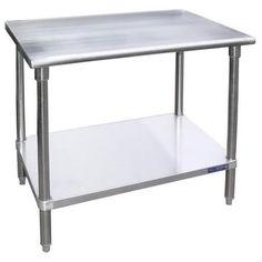 """Universal SG1436 - 36"""" X 14"""" Stainless Steel Work Table W/ Galvanized Under Shelf"""