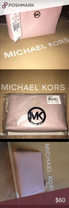 NWT Michael Kors rose pink leather travel case/bag Beautiful soft pink travel case with gold hardware. Inside pocket and brown signature inside lining  can be used as a clutch, makeup bag,travel bag, pencil case etc. Michael Kors Bags Travel Bags