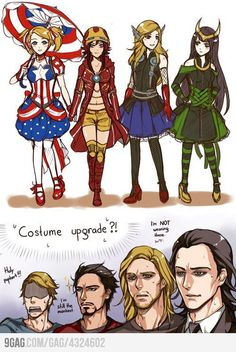 Avengers in Anime. Dear anime Iron Chick - can I has your jacket and hat? also anime Loki-ette? Dress, here, now! Marvel Funny, Marvel Memes, Marvel Dc Comics, Funny Avengers, Avengers Movies, Meme Comics, The Avengers, Female Avengers, Female Loki
