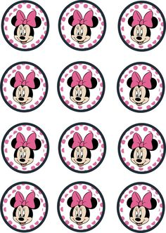 Instant Download Printable 12 x Minnie Mouse Birthday Cupcake Toppers                                                                                                                                                                                 Más