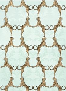 $105 for 2 rolls Cheetah Wallpaper - Aqua