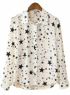 Blusa solapa Estrellas manga larga-Blanco EUR€16.05 Sheinside