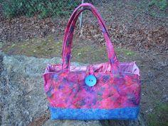 Pink and Blue Floral Quilted Batik Tote by Jackiesewingstudio