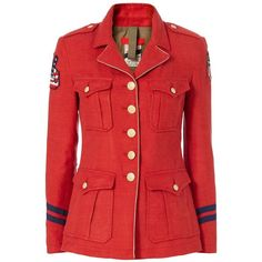 e7283d9d24e9 History Repeats Women s Red Military Jacket (€575) ❤ liked on Polyvore  featuring outerwear
