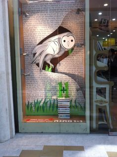 bookstore window / owl + text backdrop