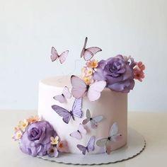 Elegant Birthday Cakes, Baby Birthday Cakes, Beautiful Birthday Cakes, Card Birthday, Birthday Greetings, Birthday Ideas, Happy Birthday, Birthday Cakes For Women, Butterfly Birthday Cakes
