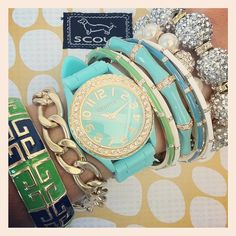 Aqua + Gold Jelly Watches just re-stocked!  Bracelets and watch from  SwellCaroline.com
