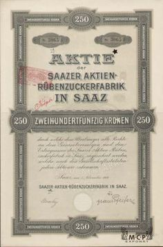 A1182 Muzeum cennych papiru / Saazer Aktien-Rübenzuckerfabrik in Saaz ( Žatecký akciový cukrovar v Žatci ) 1919 / AZP3CZ165 Stocks And Bonds, Sugar, Cards, Coins, Paper Envelopes, Prague, Map, Playing Cards, Maps