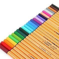 Stabilo Point 88 Fineliner Marker Pen mm, pack of Packs of 20 at Officeworks. Not sure where the 25 packs are hiding. Stabilo Pen 68, Stabilo Boss, College Supplies, Cute School Supplies, School Suplies, Jet Pens, Pen Sketch, Marker Pen, Back To School