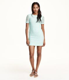 Short, slightly sheer dress in soft mint green lace. | H&M Pastels
