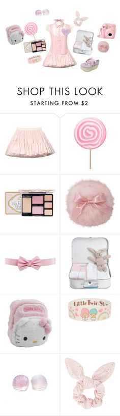 """""""Cutie on vacation"""" by pinkuplunge ❤ liked on Polyvore featuring Valentino, Too Faced Cosmetics, King Baby Studio, Hello Kitty, Topshop, cute, Pink, pastel, kawaii and japanesefashion"""