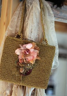 Little golden purse-  vintage revamped  purse with silk and satin florals, hand beading  vintage textiles