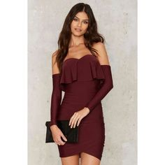 Ruche Hour Mini Dress (€70) ❤ liked on Polyvore featuring dresses, red, red dress, red fitted dress, mini dress, red off shoulder dress and bodycon dress