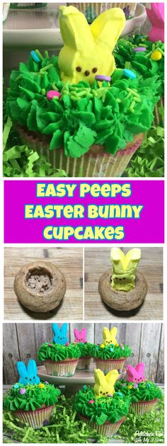 Peeps Easter Bunny Cupcakes recipe for Easter fun with peeps! #easter #peeps