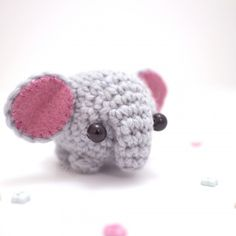 An easy amigurumi pattern for a little crocheted elephant.The $4 pdf file includes a written crochet pattern, step-by-step photos, detailed assembly instructions, and a printable template for the felt ear shapes.