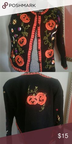 Halloween sweater size Small highot embellished Great for Halloween  party .  From smoke and pet Free home. Excellent condition.  Made by studio one Studio Sweaters Cardigans