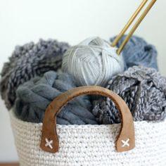Dollar Store Twine   Thrifted Belt Free Crochet Basket Pattern