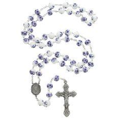 Violet Glass Flower Rosary