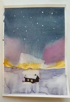 """""""Акварельная зима"""". 6.01.16 - """"Северное сияние"""". #kalachevaschool"""