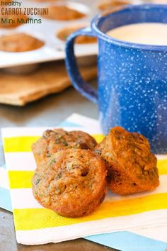 Healthy Snacks Whole Wheat Carrot Zucchini Mini Muffins - a healthy breakfast or snack that gets kids happily eating their veggies. This whole grain muffin is naturally sweetened with maple syrup, and freezes well. Readers love this recipe! Mini Muffins, Baby Muffins, Baby Food Recipes, Cooking Recipes, Healthy Recipes, Muffin Recipes, Healthy Food, Raw Food, Healthy Toddler Food