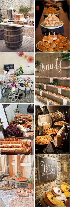 28 Mouth-watering Wedding Food/Drink Bar Ideas for Your Big Day Outdoor Wedding Foods, Wedding Food Bars, Wedding Buffet Food, Wedding Reception Food, Wedding Catering, Food Buffet, Wedding Cake, Food Table Decorations, Wedding Table Centerpieces