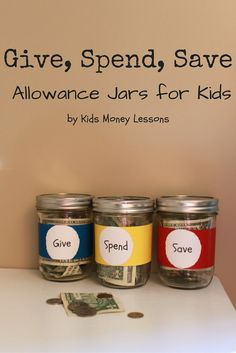 "Whether or not you agree with ""allowance"" for your kids, this article discusses some money concepts that all of our children will need to use when they are young adults. Give, Spend, Save Allowance Jars for Kids, by Kids Money Lessons Chores And Allowance, Allowance For Kids, Allowance Chart, Teaching Kids Money, Little Presents, Budget Planer, Little Doll, Raising Kids, Kids And Parenting"