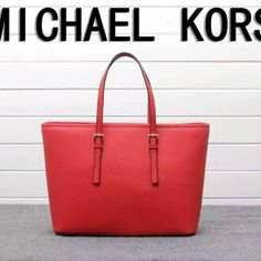 MICHAEL Michael Kors Jet Set Travel Saffiano Leather Tote Red
