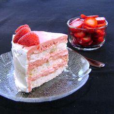 One Perfect Bite: Frozen Vacherin Torte with Rhubarb Cream and Strawberries