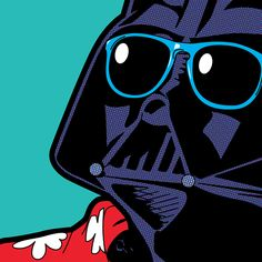grég guillemin peeks into the private lives of comic book characters: Darth Vader chills out in a hawaiian shirt