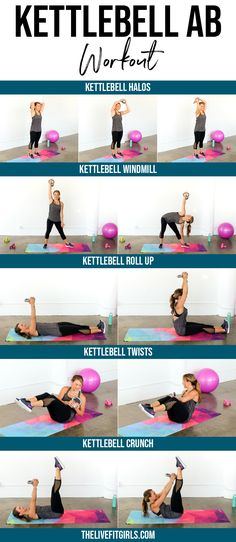 Jul 2019 - The best kettlebell ab workout to target your core. These kettlebell ab exercises will strengthen and tone your stomach and burn tons of calories. Kettlebell Workout Routines, Kettlebell Workouts For Women, Kettlebell Challenge, Kettlebell Cardio, Best Ab Workout, Fitness Routines, Abs Workout For Women, Ab Workouts, Fitness Tips