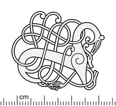 Illustration of the silver Urnes style openwork brooch from Lindholm Høje, Denmark. The Lindholm Hills is a major Viking Age burial site and settlement situated to the north of the city of Aalborg. The brooch displays 'the Great Beast' motif: a. Norse Tattoo, Viking Tattoos, Armor Tattoo, Warrior Tattoos, Viking Designs, Celtic Designs, Viking Symbols, Viking Art, Celtic Dragon