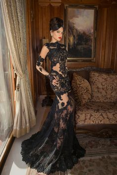 Vintage Robe de Soiree W3091 New 2015 Mermaid Lace Evening Dresses Black Appliques Formal Gowns Long Sleeves Winter Style Sheer