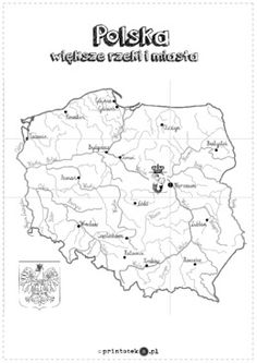 Mapa Polski XXL - większe miasta i rzeki - Printoteka.pl Montessori Materials, Diagram, Embroidery, Learning, School, Character, Geography, Historia, Needlepoint