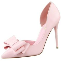 Visit to Buy  Hot Sales Female Sweet Butterfly-knot Thin High Heels  Pointed Toe Shallow Mouth Single Shoes Women Sexy Party Stilettos 7 Colors fa43f424e2af